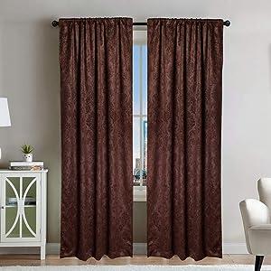 Window Curtains,52W x 84L x 1pcs, Flannelette Print Light Blocking Curtains for Bedroom,Dark Red