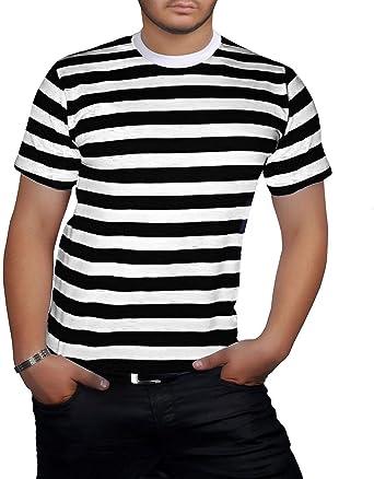 camisa hombre blanca y negra a rallas