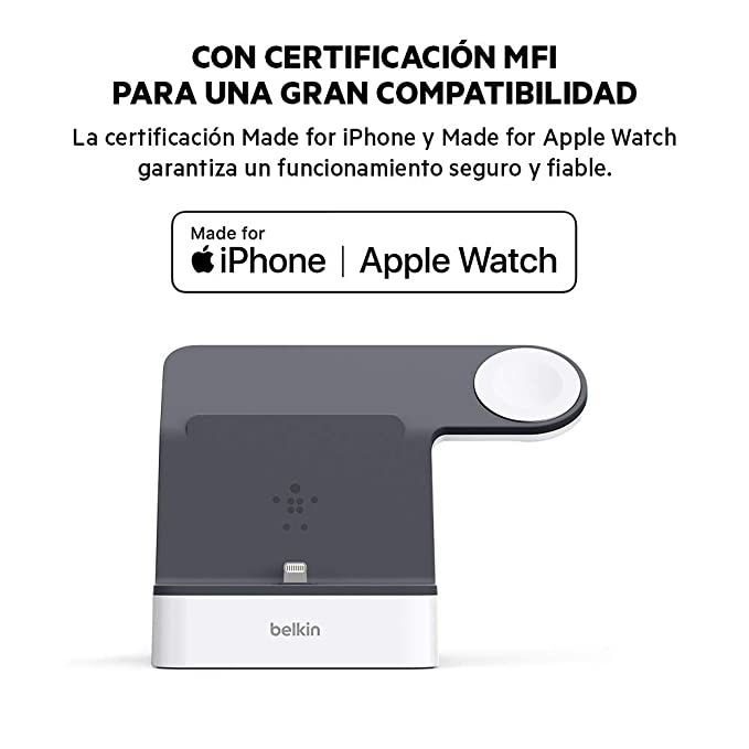 Belkin PowerHouse - Base de carga para Apple Watch + iPhone (estación dock de carga para iPhone 11, 11 Pro/Pro Max, XS, XS Max, XR, X, 8/8 Plus y ...