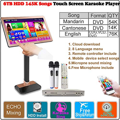 (6TB HDD 145K Chinese Songs(Mandarin,Cantonese),English CDG,VCD, DVD Songs.22''Touch Screen Karaoke Player,ECHO Mixing, Cloud Download, Free Microphone and Remote Controller Included)