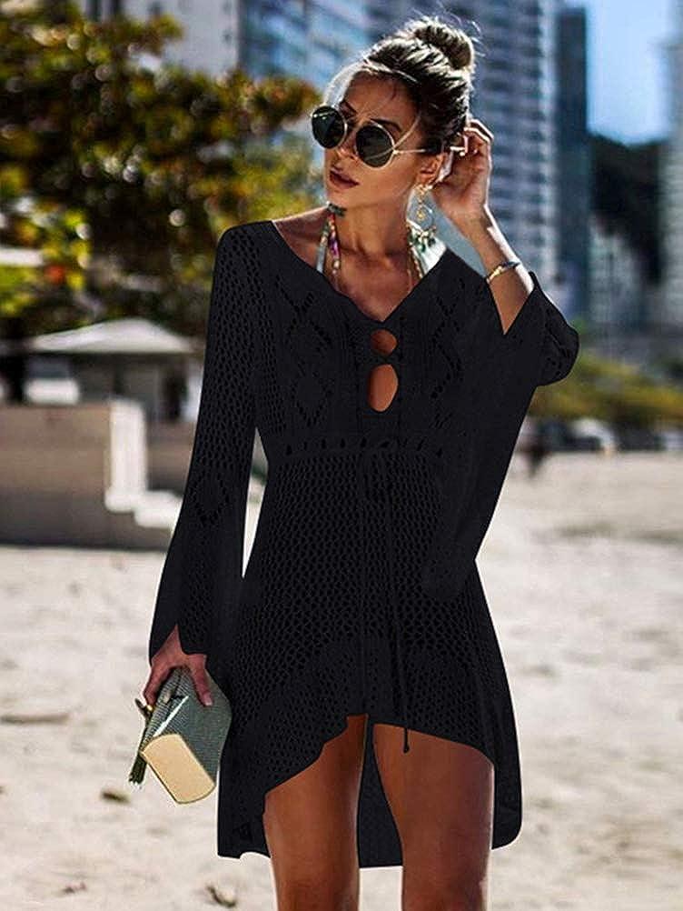 ORANDESIGNE Damen Boho Weben Einzigartig Bikini Cover Up Sommerkleid Gestrickte Strandkleid