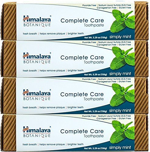 Himalaya Complete Care toothpaste - Simply Mint 5.29 oz/150 gm (4 Pack) Natural, Flouride-Free & SLS (Complete Pomegranate)