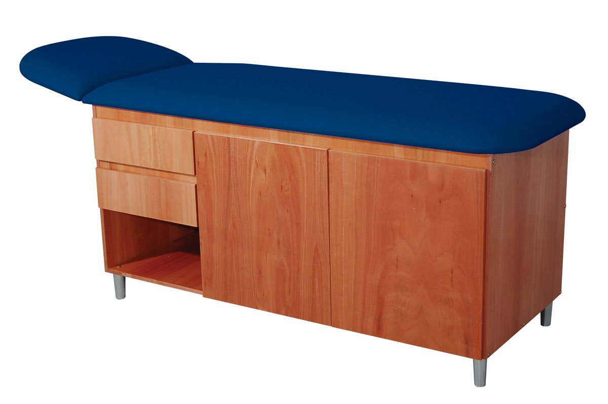 3B Scientific W15139DB Classic Straight Line Table with Drawers, Dark Blue Top (Pack of 1)