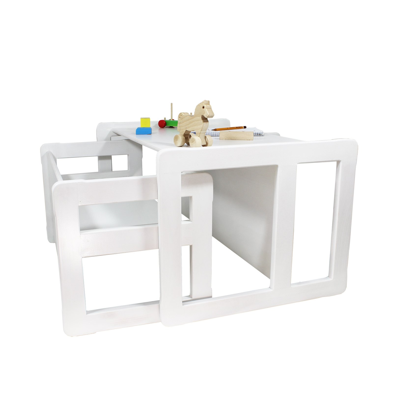 3 in 1 Childrens Multifunctional Furniture Set of 2, One Small Bench or Table and One Large Bench or Table Beech Wood, White Stained by Obique Ltd (Image #1)