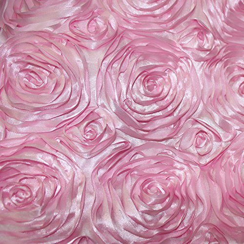 Fabric Rose Floral (Rose Satin Fabric 3D 52 inches / 54 inches Width sold by the yard Pink)