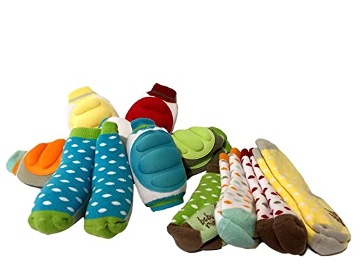 Amazon.com: Baby Mink Baby Knee Pads for Crawling (5 Pairs) + Socks (5 Pairs), Blue, Red, Orange, Yellow, Green, Unisize: Clothing