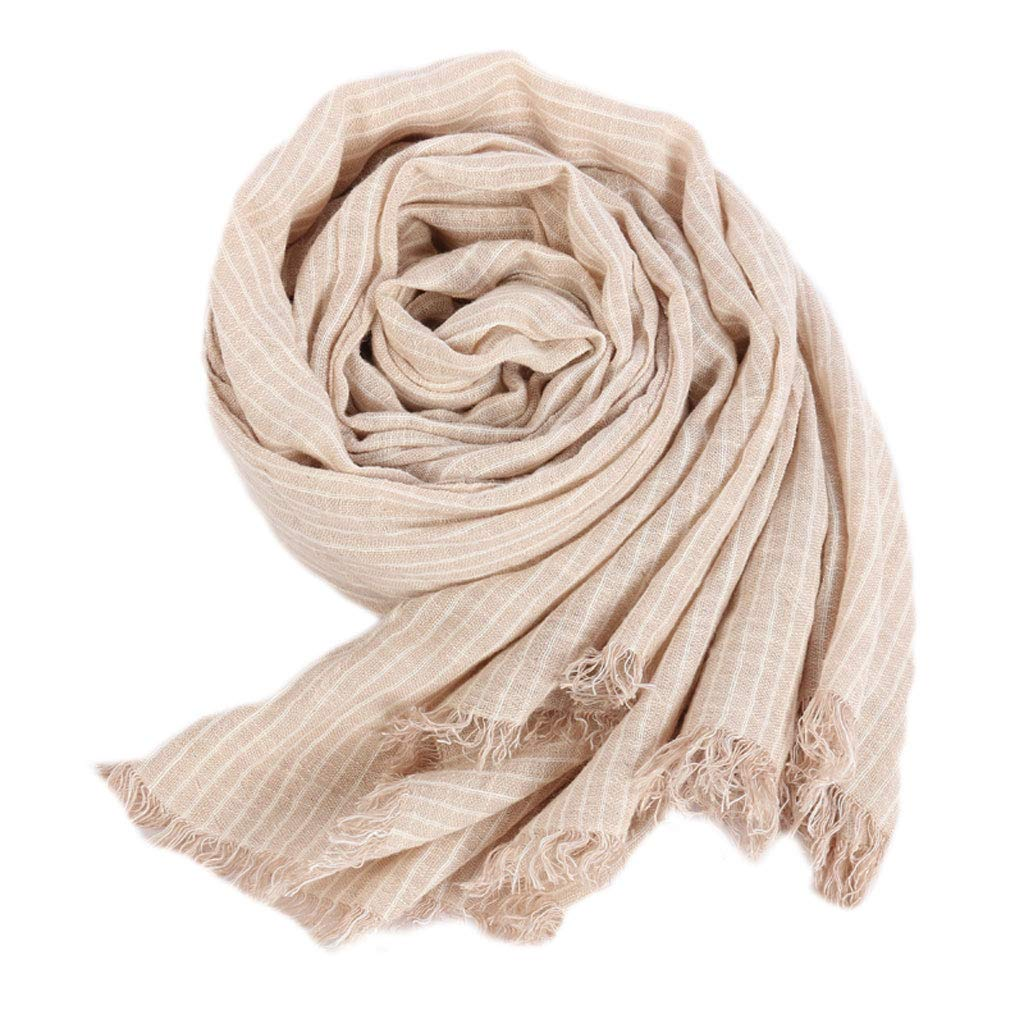 Beige LBY Cotton Linen Linen Scarf Female Autumn and Winter Wild Students Soft and Comfortable Long Striped Scarf Shawl Scarf (color   Beige)