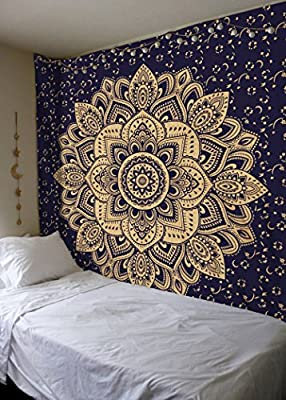 Madhu International New Launched Blue Gold Passion Ombre Mandala Tapestry, Boho Mandala Tapestry, Wall Hanging, Gypsy Tapestry,Multicolor