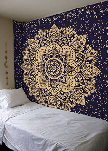 New Launched Blue Gold Passion Ombre Mandala Tapestry By