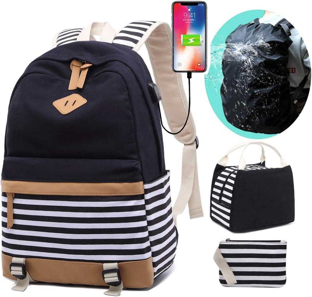 School Backpacks Teen Girls Canvas Backpack 3 in 1 Set