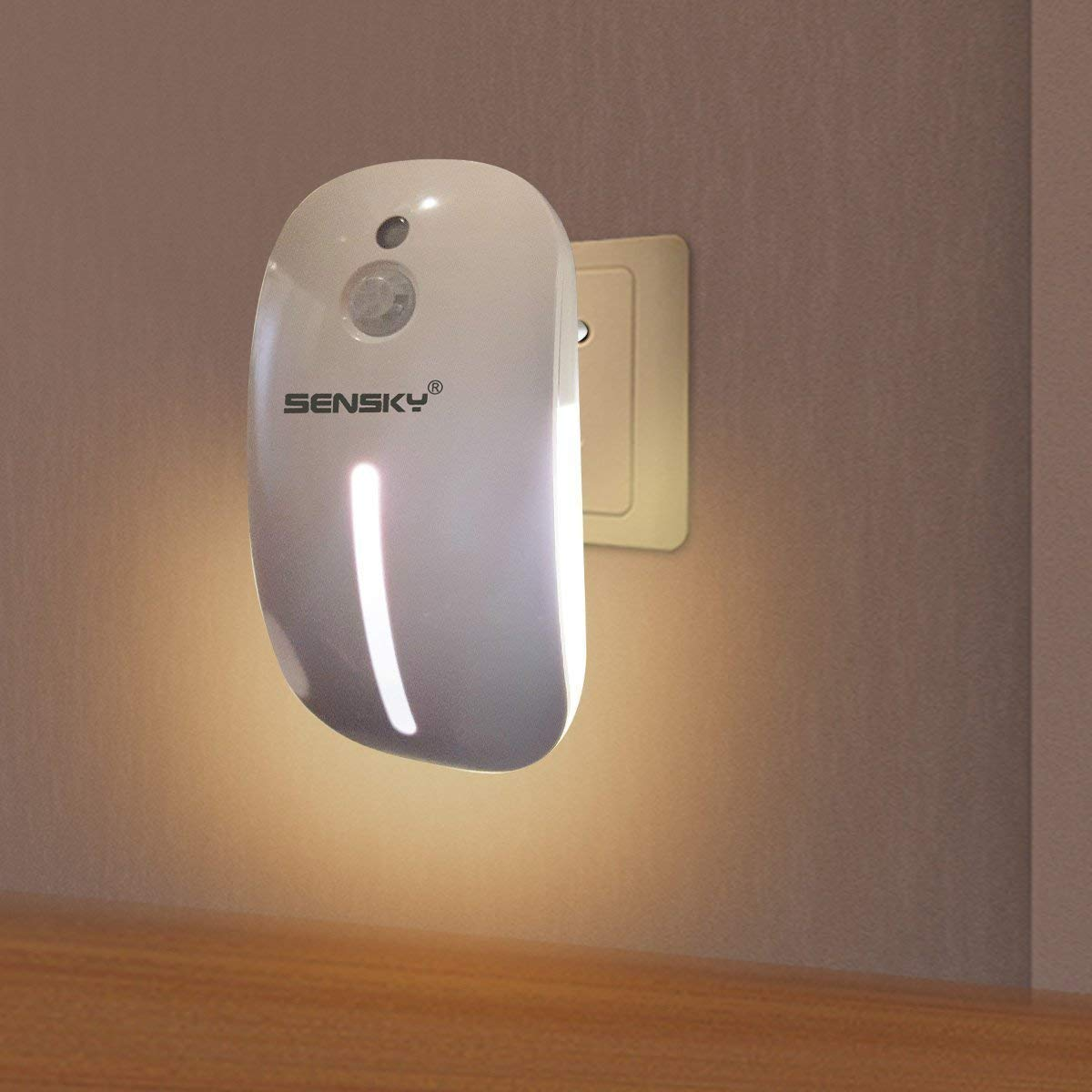 Led Night Light - Sensky BS126 Plug In Night Light, PIR Motion Sensor Light with Motion Detector Dusk to Dawn Light Sensor, 1.8W Output, Non-Glaring Natural White Night Lights for Children' Room [Energy Class A+] Moonlife99 SK-126