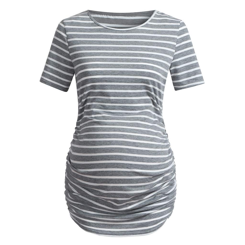 Pregnant Casual T-Shirt, Women's Maternity Bodycon Tops Striped Sides Ruched Short Sleeve Shirt (L, Gray)