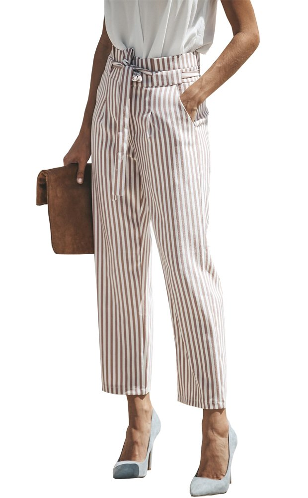 Wicky LS Women's Self Belt No Elastic Striped High Waist Straight Pants