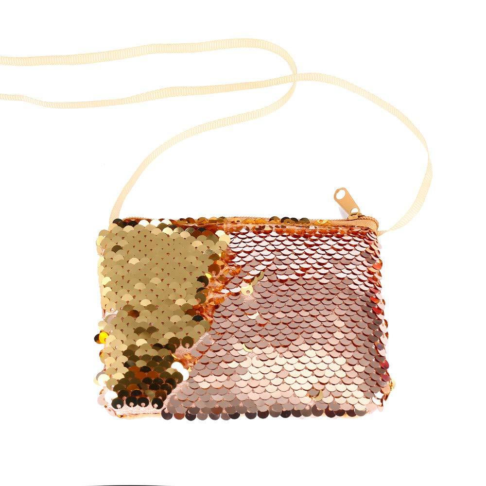 Longay Women Girls Fashion Double Color Sequins Bag Storage Bag Ladies Purse Pouch (Khaki)