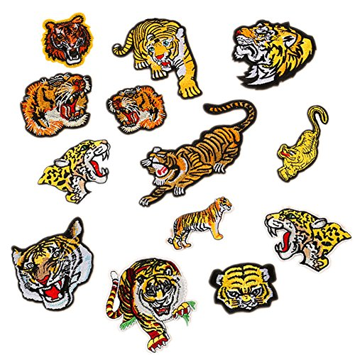 13pcs Assorted Lion Tiger Leopard Wolf Deer Eagle Embroidered Safri Animal Patches Sew Iron on Applique Badge ()