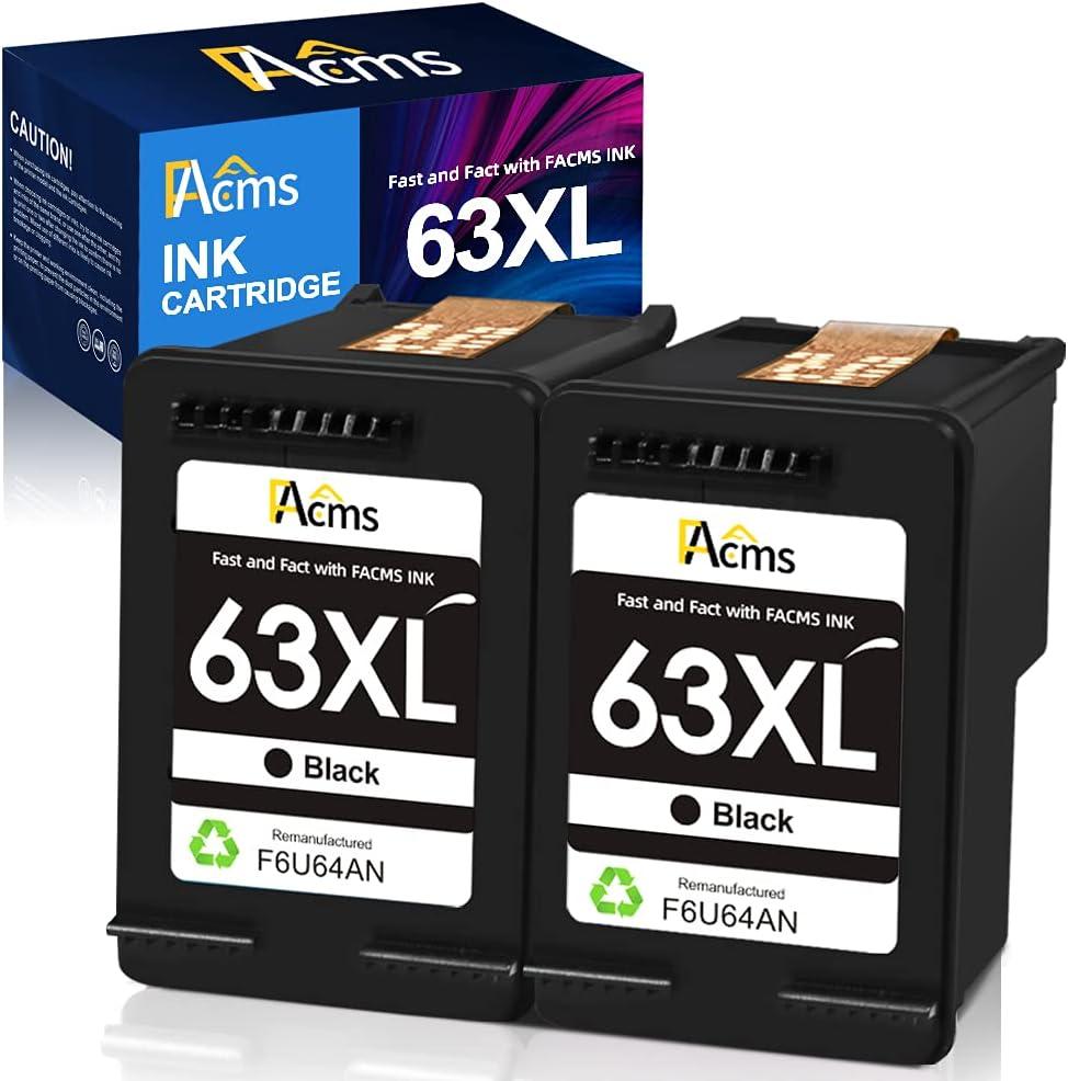 FAcms Remanufactured 63xl Black Ink Cartridge Replacement for HP 63 63XL for HP OfficeJet 3830 5255 5258 Envy 4520 4512 4513 4516 DeskJet 1112 1110 3630 3632 3634 2130 2132 Printer (2 Black)