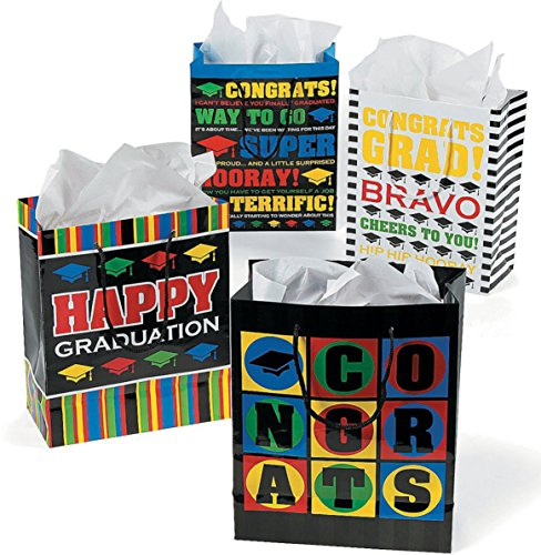 Paper Medium Graduation Gift Bags - 12 Bags in Assorted Styles
