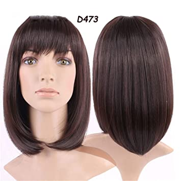 100% Real Natural 16Inches 160G Silky Straight Dark Brown Party BOB Hair Wig Synthetic Wigs