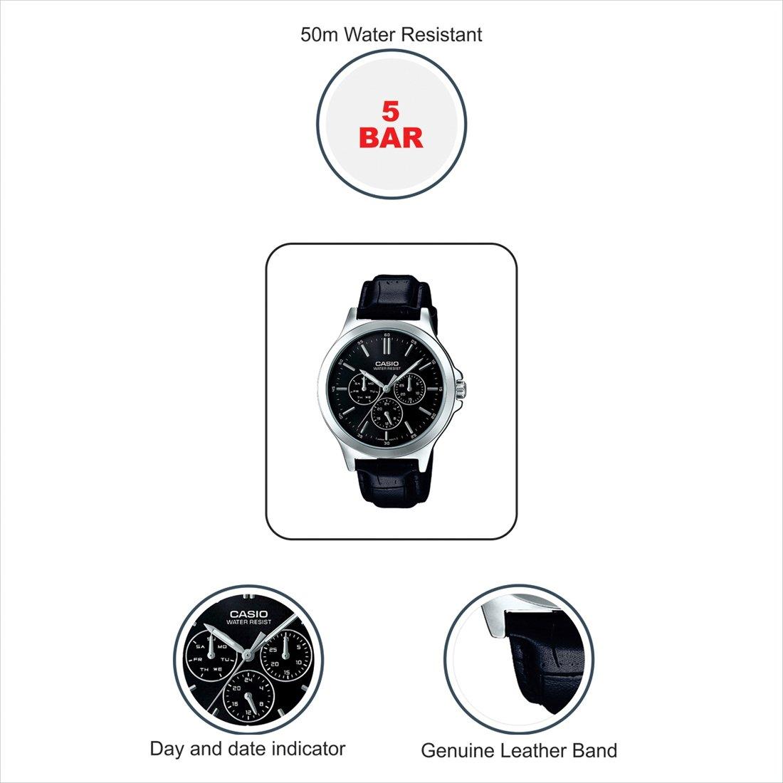 Amazon.com: Casio Multi-Dial Black Leather Mens Watch MTP-V300L-1AV: Watches