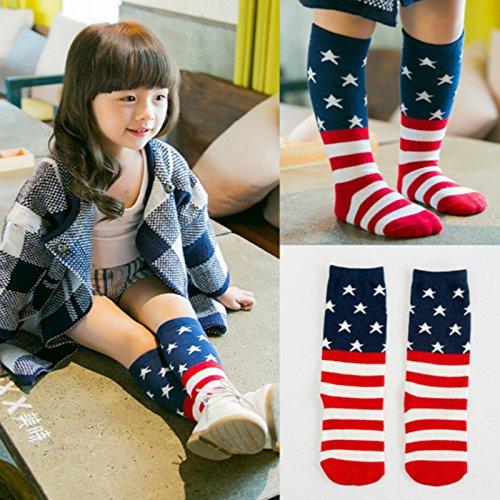 Skyeye Kreativ Pers/önlichkeit Amerikanische Flagge Baumwolle Kinder Kniestr/ümpfe Size Geeignet f/ür Kinder von 4-6 Jahren