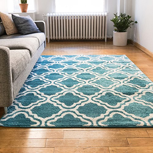 modern rug calipso blue 3 39 3 x 5 39 lattice trellis accent area rug entry way bright kids room. Black Bedroom Furniture Sets. Home Design Ideas