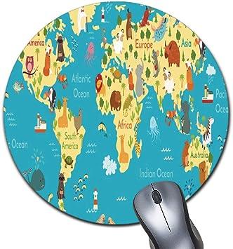 Alfombrilla de ratón Redonda con diseño de Mapa del Mundo para ...