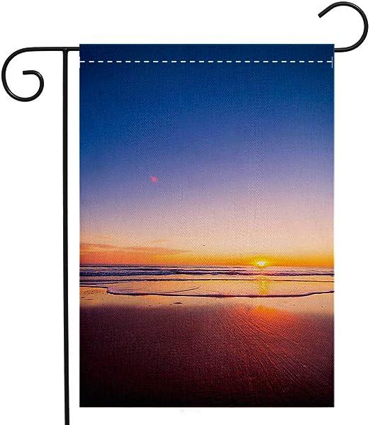 Bandera de jardín de doble cara de BEIVIVI, personalizable, con amanecer sobre granja de olivos y