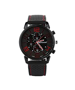 Acamifashion Men Casual Quartz Analog Silicone Band Stainless Steel Sports Wrist Watch - Red