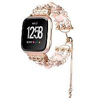 Javpoo Perles Charm Bracelet Compatible Fitbit Versa Femmes, Pearl Faux à la Main de Perles Bijoux Bracelet chaîne télescopique Watch Band Sangle Compatible Fitbit Versa Smartwatch