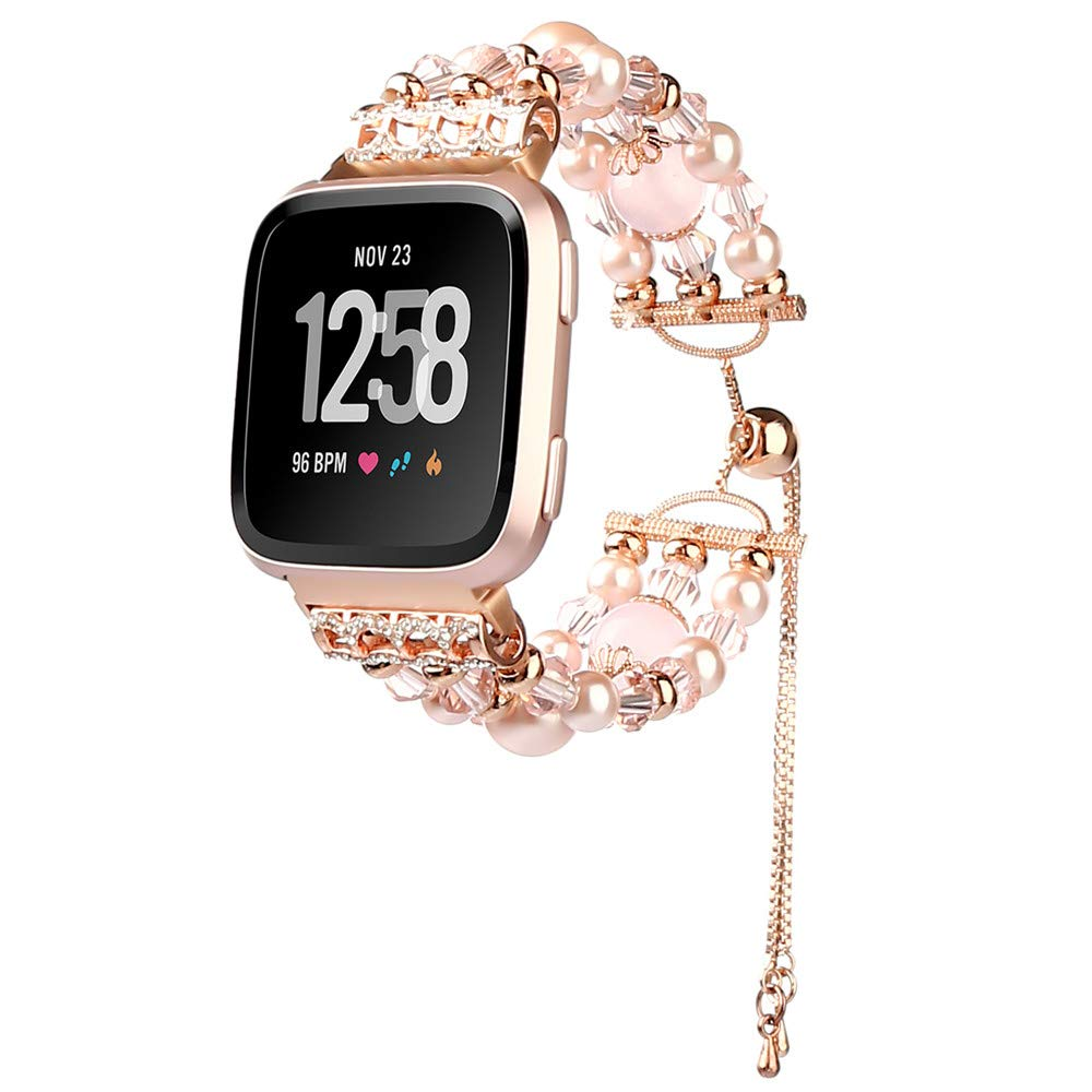 Cywulin Compatible for Fitbit Versa Replacement Bands, Bling Handmade Elastic Stretchy Pearl Beaded Jewelry Bracelet Luxury Rhinestone Smart Watch Wristband Strap Accessories for Women Girls (Pink)