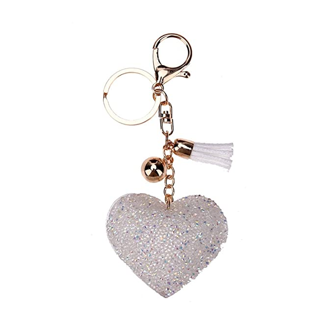 Amazon.com  Lovely Cute Charming Bling Pendent Crystal Keychain Women Key  Holder Car Key-Ring Charm Gift Porta Chaves Valentine S Day Gift 01   Clothing be5a9304df