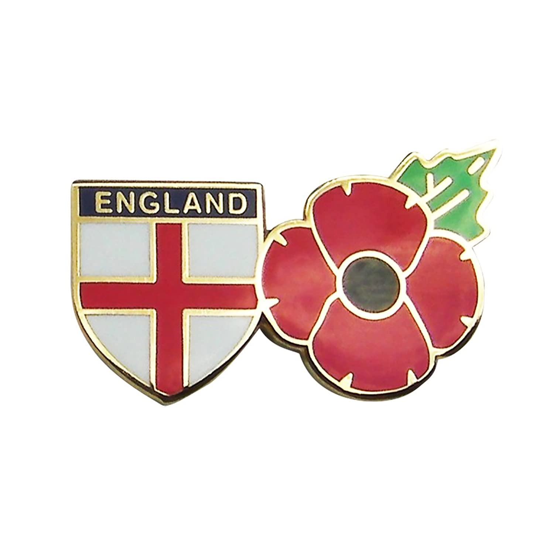 Poppy badge with cross of st george shield remembrance sunday poppy badge with cross of st george shield remembrance sunday uk seller amazon clothing buycottarizona