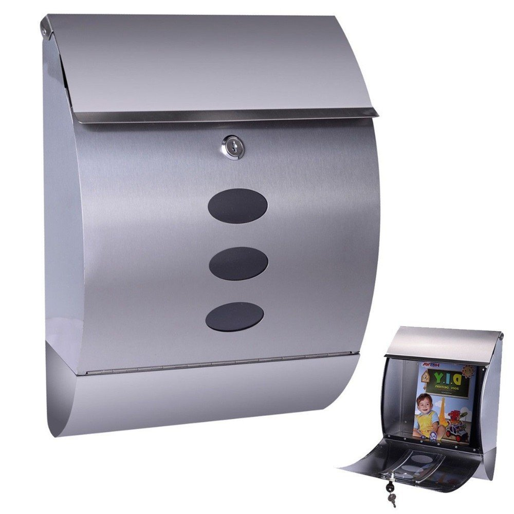 Stainless Steel Wall Mount Mail Box w/Retrieval Door & Newspaper Roll & 2 Keys