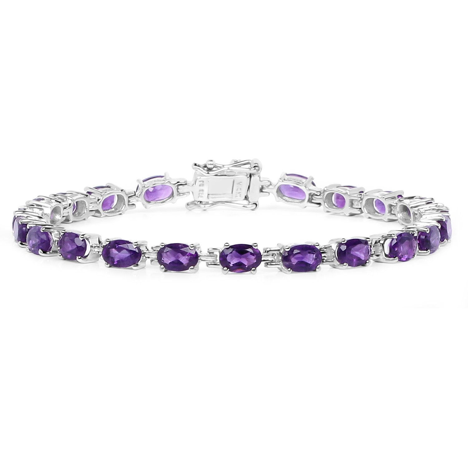 Johareez 9.03 Cts Amethyst .925 Sterling Silver Rhodium Plated Bracelet For Women