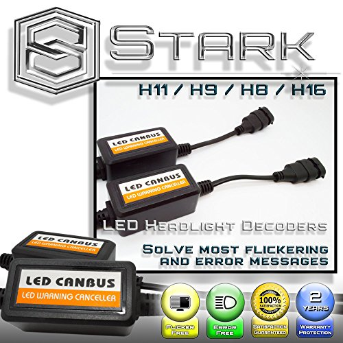 PAIR LED Conversion Kit Headlight Canbus Error Free Anti Flickering Resistor Decoder - H11 / H8 H9 H16