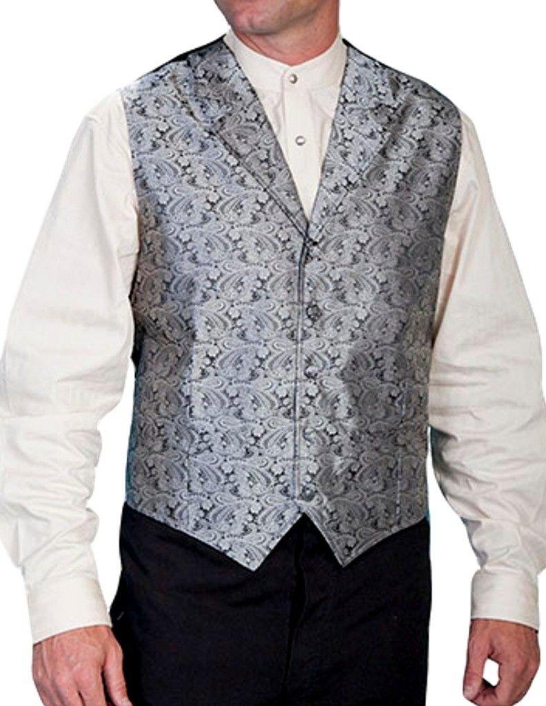 Scully Rangewear Men's Rangewear Paisley Button Vest Grey Large