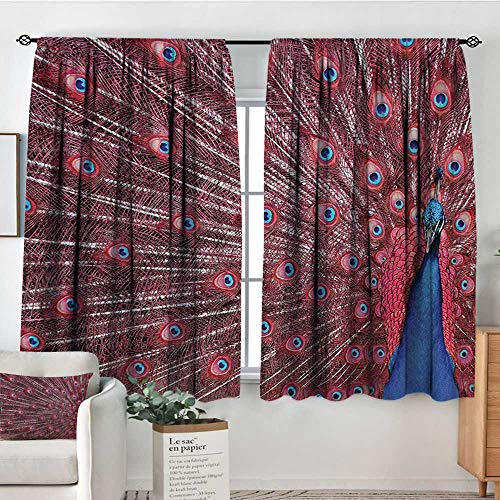 Peacock Custom Curtains A Beautiful Male Displays His Plumage Majestic Surreal Wildlife Theme Artwork Thermal Blackout Curtains 63