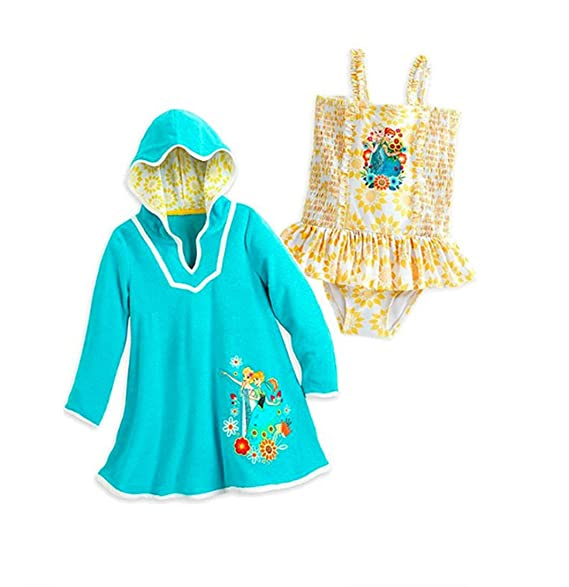 Disney Store Little Girls Frozen Glitter Accents Swimsuit and Cover-Up