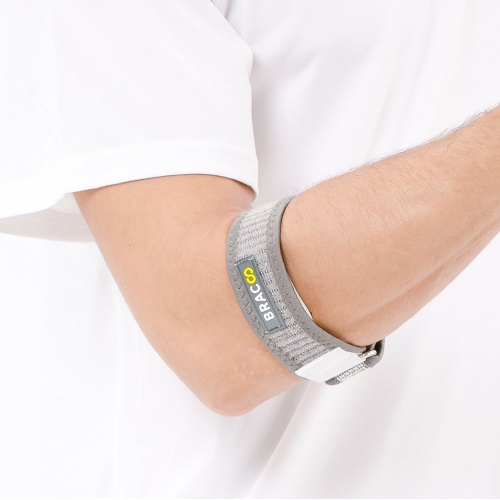 Bracoo Tennis-Golfer Elbow Strap, Quality Compression EVA Pad for Tendonitis, Muscle Strain Relief, EP40, One Size,Gray