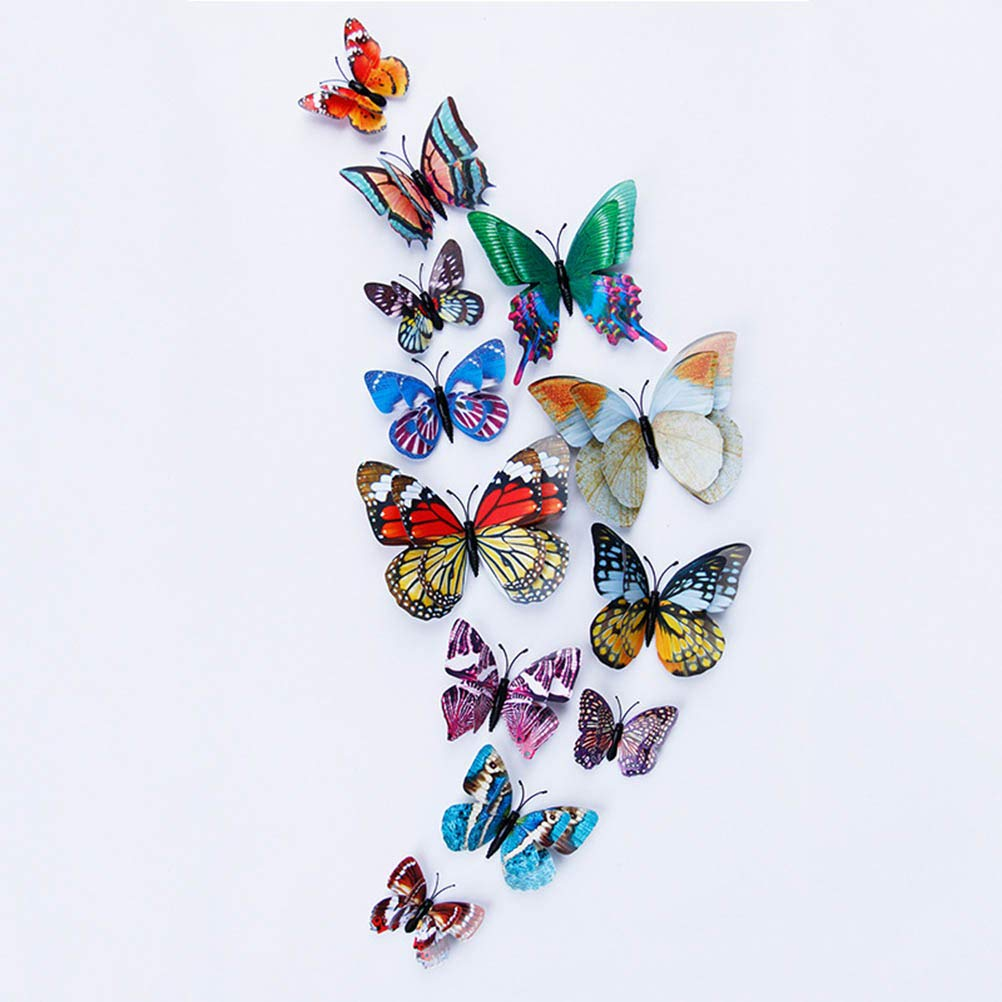 Vosarea 3D Luminous Butterfly Wall Stickers Decor Art Decorations,Butterfly Wall Decals Removable DIY Home Decorations 12 PCS for Bathroom Office Wall Art Kids Room Fridge Decoration