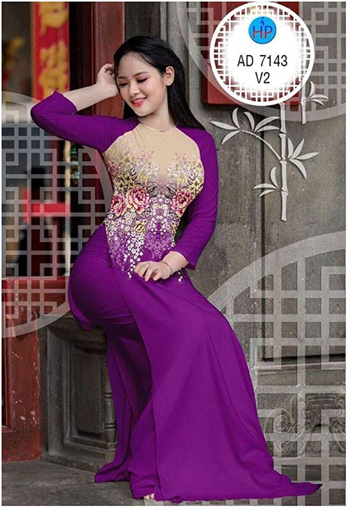 Silk 3D ADVN0405202211 Ao Dai Traditional Vietnamese Long Dress Collections with Pants