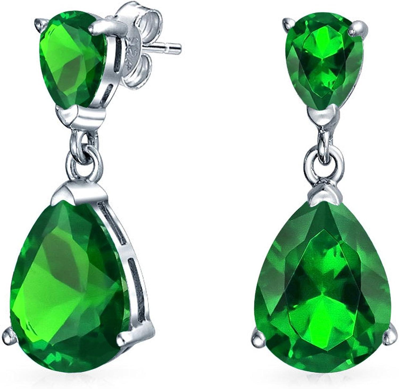 5Ct Zirconio Cúbico Verde En Forma De Pera CZ Colgante Pendiente De Plata Esterlina Esmeralda Simuladas Prom