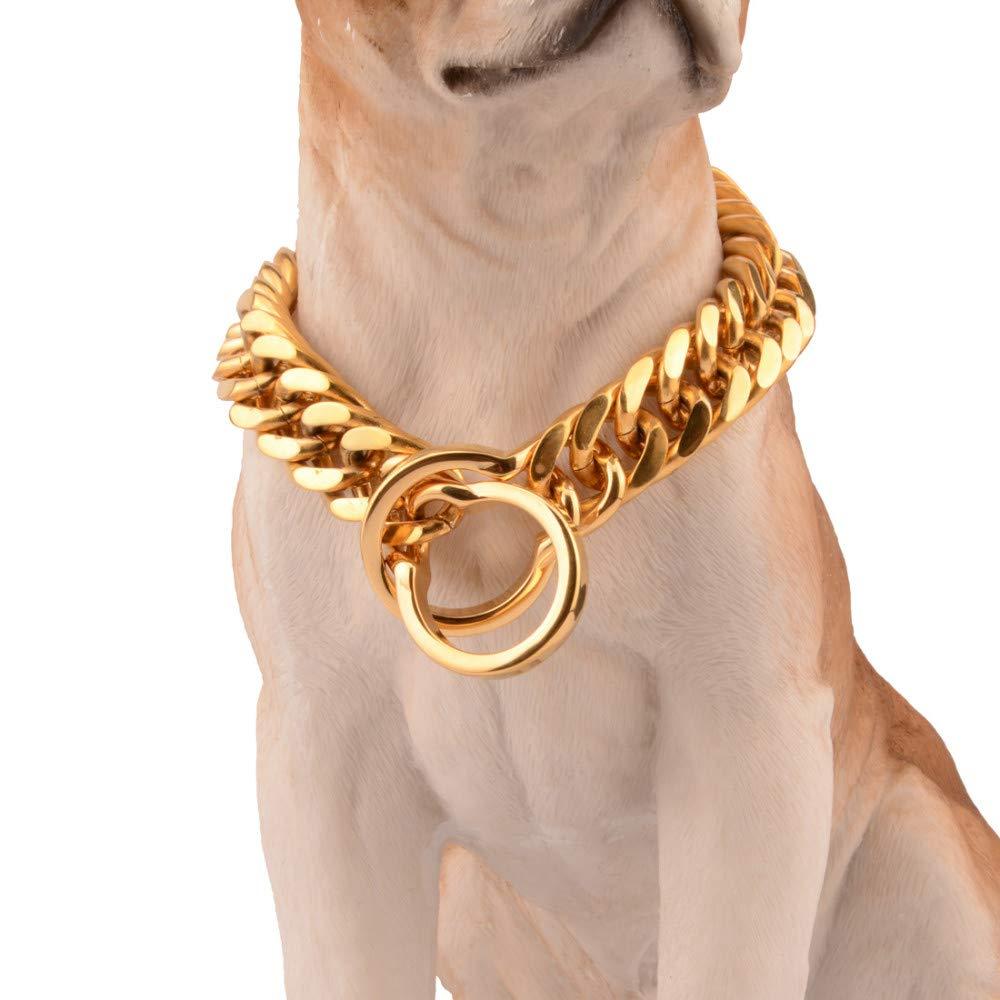 Collari a strozzo per cani Collari basic Diametro filo 18mm acciaio inossidabile titanio doppia fibbia cane catena cane oroen Retriever Bulldog Pitbull collare cane cane 18 pollici (circonferenza