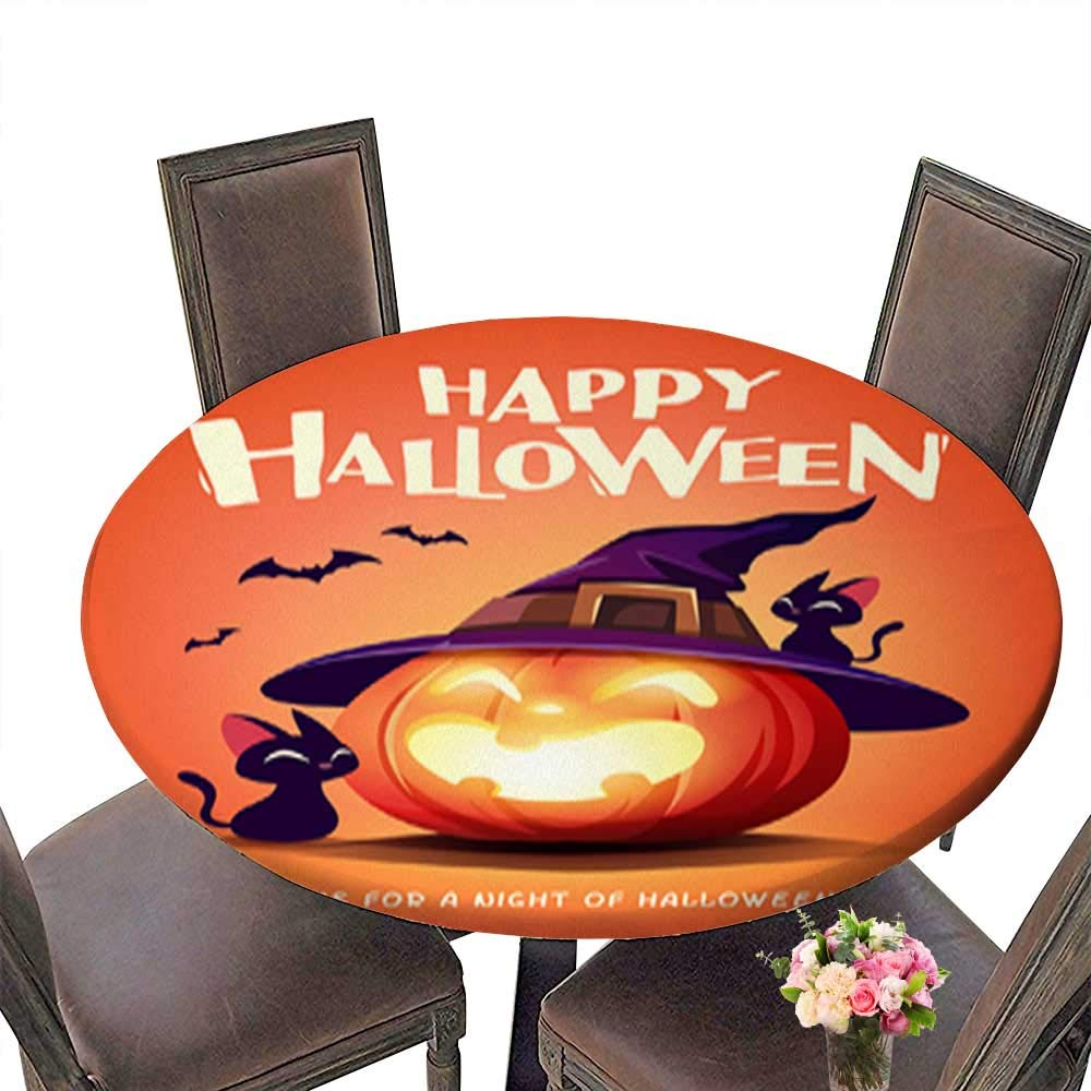 Polyester Round Table Cloth,Happy Halloween Halloween Pumpkin Black Cat and Jack O Lantern Pumpkin with wi Table up to 31.5''-33.5'' Diameter