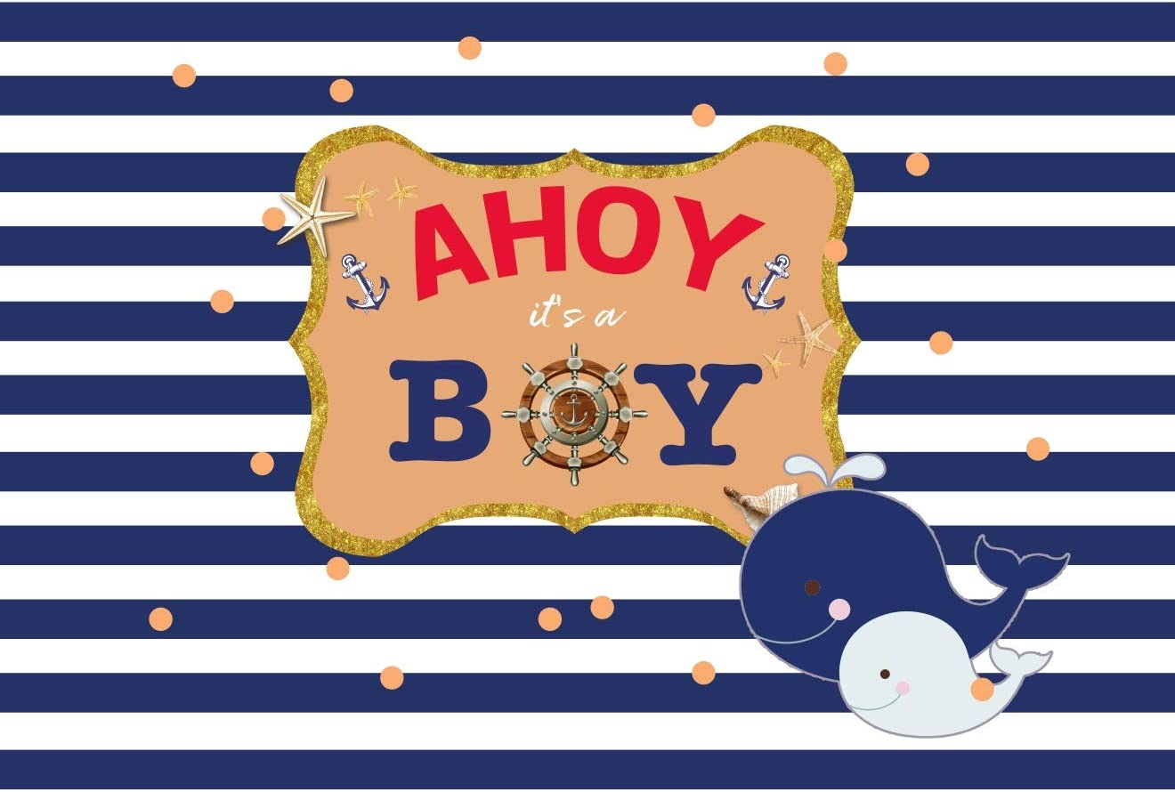 OFILA Nautical Theme Baby Shower Backdrop 7x5ft Polyester Fabric Nautical Party Photography Background Its a Boy Baby Shower Party Helm Anchor Photos Boys Baby Shower Party Decoration Studio Props