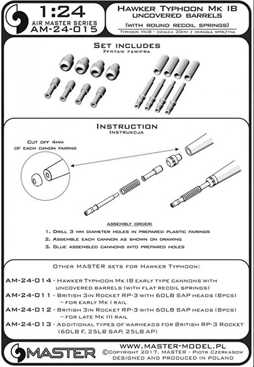 with Master 1//24 Hawker Typhoon Mk.IB Early Type Cannons with Uncovered Barrels