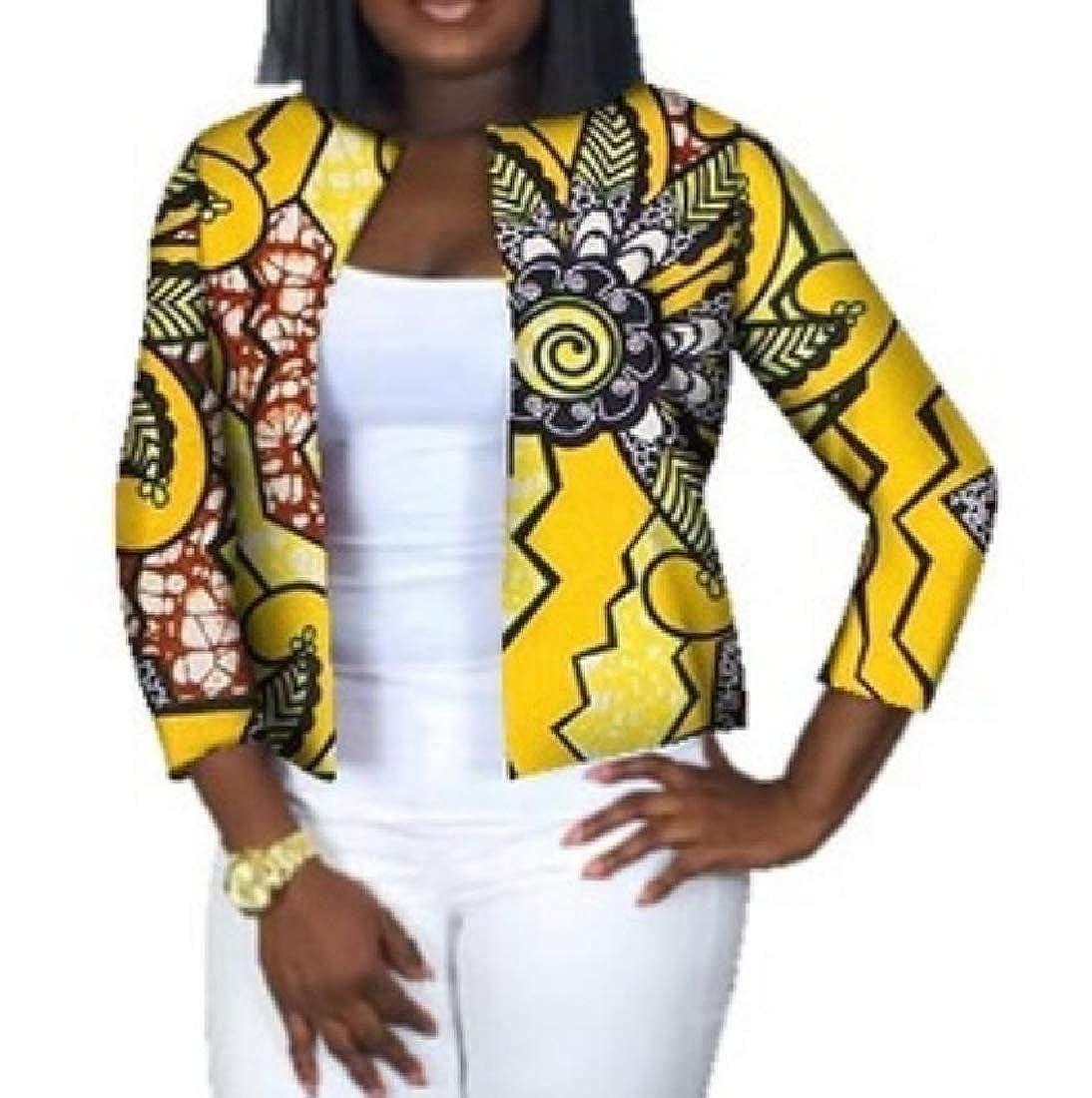 YUNY Cardigan African Dashiki Crop Top Plus Size Slim Outerwear Three L