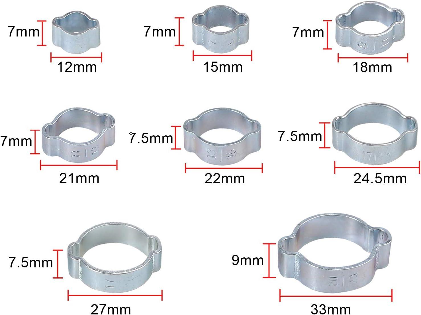 Proster 140 Stk Doppelohr-Schlauchschelle 2 ohrweit einstellbar 5-23 mm Verzinkter Stahlschneckenantrieb Kraftstoff Wasserschlauch Rohrschellen Clips Schlauch Kraftstoffschellen Kit