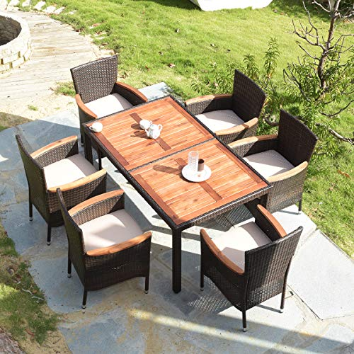 Tangkula 7 PCS Outdoor Patio Dining Set, Garden Dining Set w/Acacia Wood Table Top, Stackable Chairs with Soft Cushion, Poly Wicker Dining Table and Chairs Set (Brown) (Patio Dining Table Outdoor)
