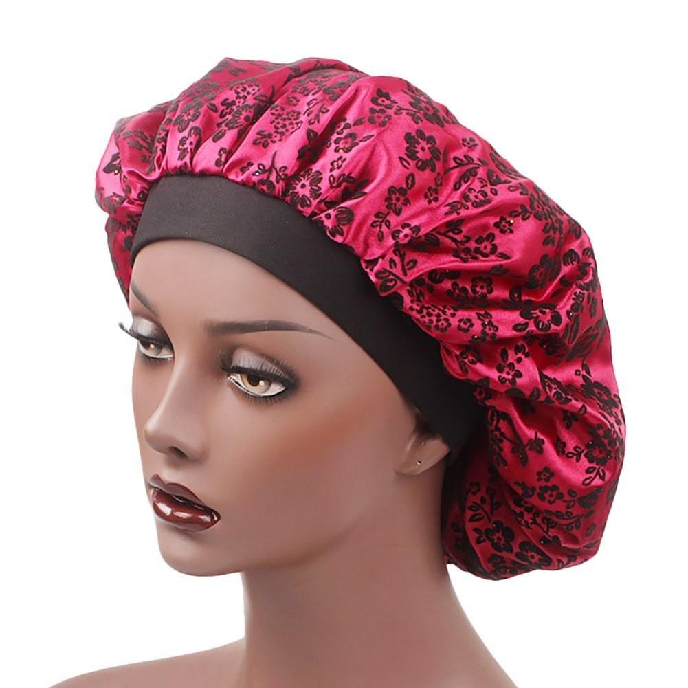 Tianya Night Caps for Women, Wide-Brimmed Satin Sleep Cap with Elastic Band for Sleeping, Hair Loss, Hair Protection Muslim Hat Hair Cap